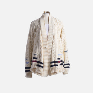 Greg Lauren Cable Knit Scrapwork GL1 - Ivory