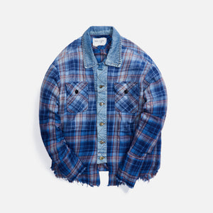 Greg Lauren Agoura Trucker Front Boxy Studio Shirt - Blue Plaid