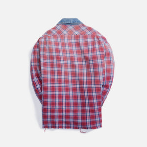 Greg Lauren Saloon Trucker Front Boxy Studio Shirt - Red Plaid