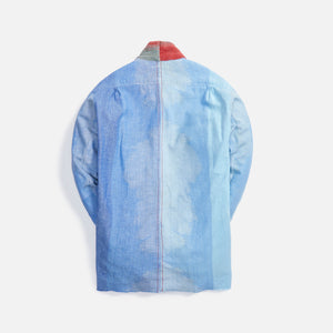 Greg Lauren Mixed Chambray Dhurrie Stripe GL1 - Light Blue