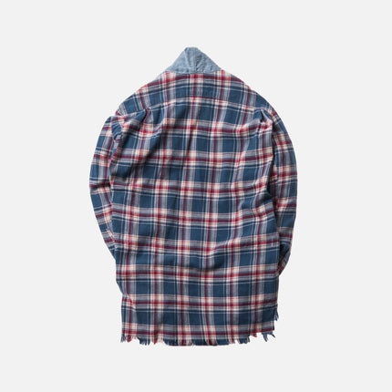 Greg Lauren Everest Vintage Denim Kimono Studio Shirt - Red / Blue