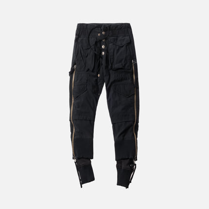 Greg Lauren Army Jacket Fleece Zipper Lounge Pant - Black