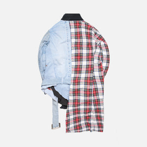 Greg Lauren 50/50 Highland Plaid Vintage Denim Asymmetrical Kimono - Multi