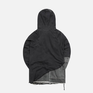 Greg Lauren 50/50 Black Fleece Canvas Hoodie - Black