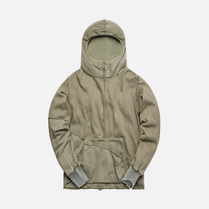 Greg Lauren 50/50 Army Knit Fleece Slouchy High Teck Track Hoodie - Olive
