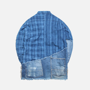 Greg Lauren Indigo Stripe Plaid Vintage Denim Studio Shirt - Blue