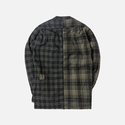 Greg Lauren 50/50 Sky / Cowboy Flannel Studio Shirt - Dark Green / Olive