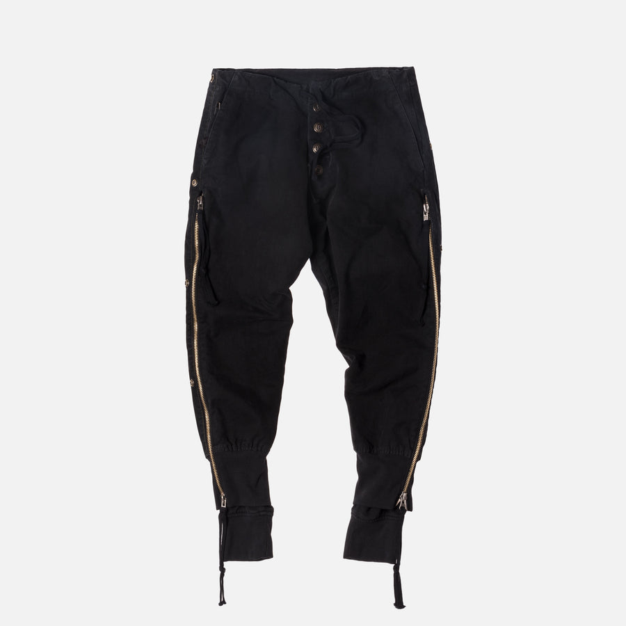 Greg Lauren Tent / Fleece Zipper Lounge Pant - Black