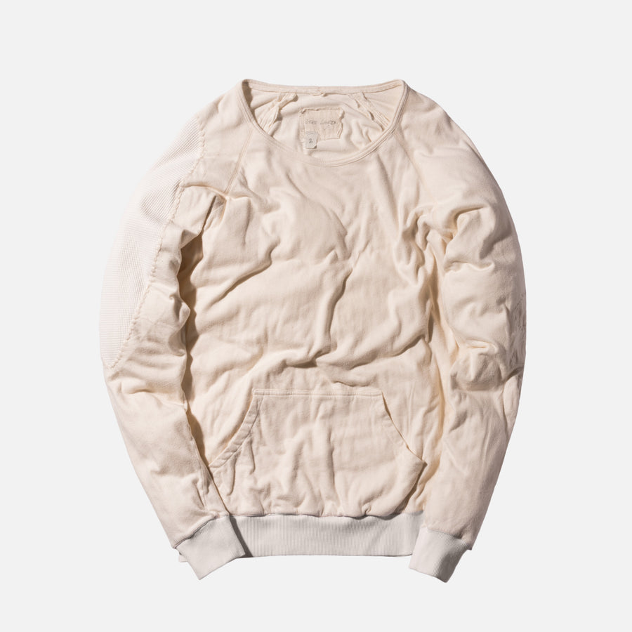 Greg Lauren Raglan Pullover With Pouch - Ivory