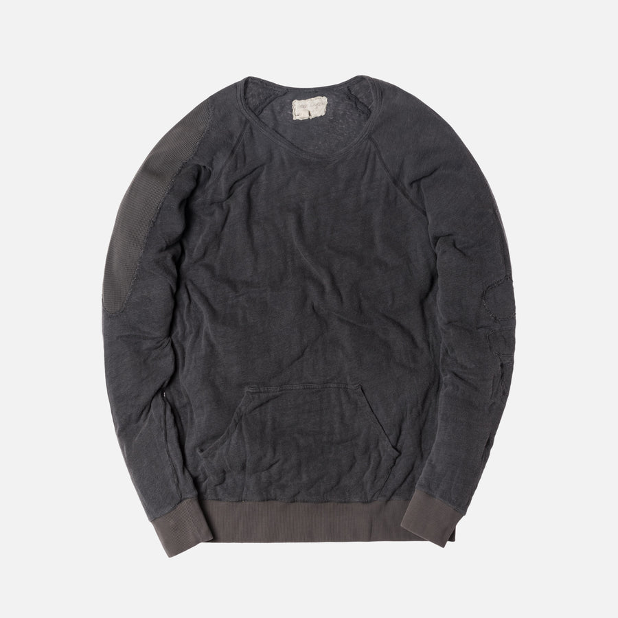 Greg Lauren Raglan Pullover with Pouch - Charcoal