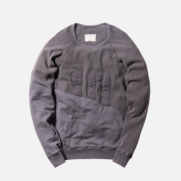 Greg Lauren 50/50 Waffle Fleece Hero Raglan - Charcoal