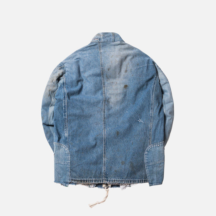 Greg Lauren Destroyed Vintage Denim Track Jacket - Light Blue