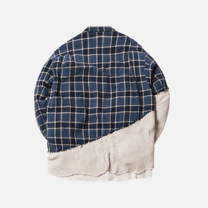 Greg Lauren 50/50 Blue Moon Ivory Woven Fleece Pullover Studio Shirt - Navy