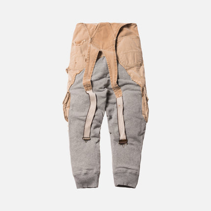Greg Lauren Carhartt Grey Fleece Drop Lounge Pant - Beige / Grey