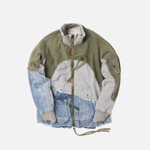 Greg Lauren 50/50 Hi-Tech Zip Jacket - Denim / Army Green