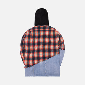 Greg Lauren 50/50 Hooded Studio Shirt - Orange Plaid / Denim