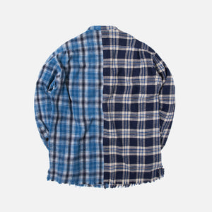 Greg Lauren Mixed Studio Shirt - Blue Plaid