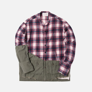 Greg Lauren 50/50 Studio Shirt - Red Plaid / Army