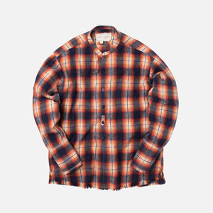Greg Lauren Plaid Studio Shirt - Orange / Black
