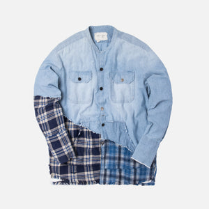 Greg Lauren 50/50 Plaid Studio Shirt - Chambray Blue