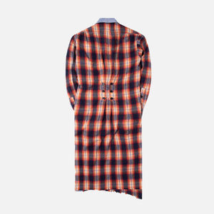 Greg Lauren Plaid Long Kimono - Orange / Black