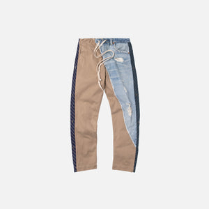 Greg Lauren Denim Pant Stripe Pant - Light Blue / Beige