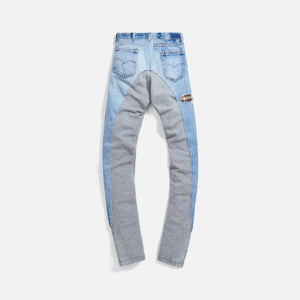 Greg Lauren 50/50 Long Slim Patchwork Fleece Pant - Denim / Grey