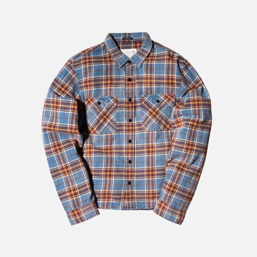 R13 Grunge Button-Up - Blue / Plaid