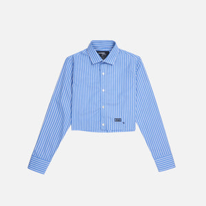 HommeGirls L/S Cropped - Blue / White Striped Image 1