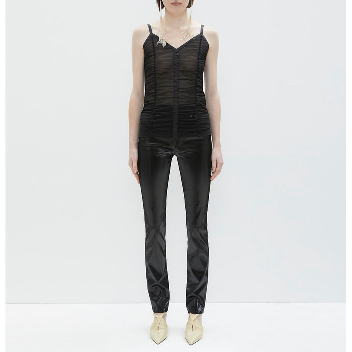 Helmut Lang Ruched Mesh Slip Top - Black