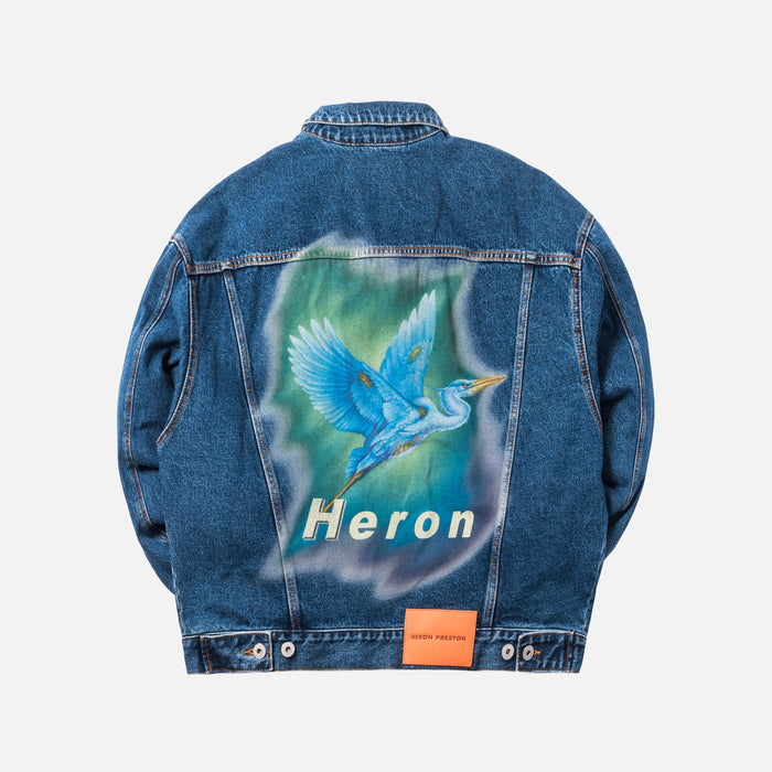 Heron Preston Airbrush Heron Denim Jacket - Medium Blue