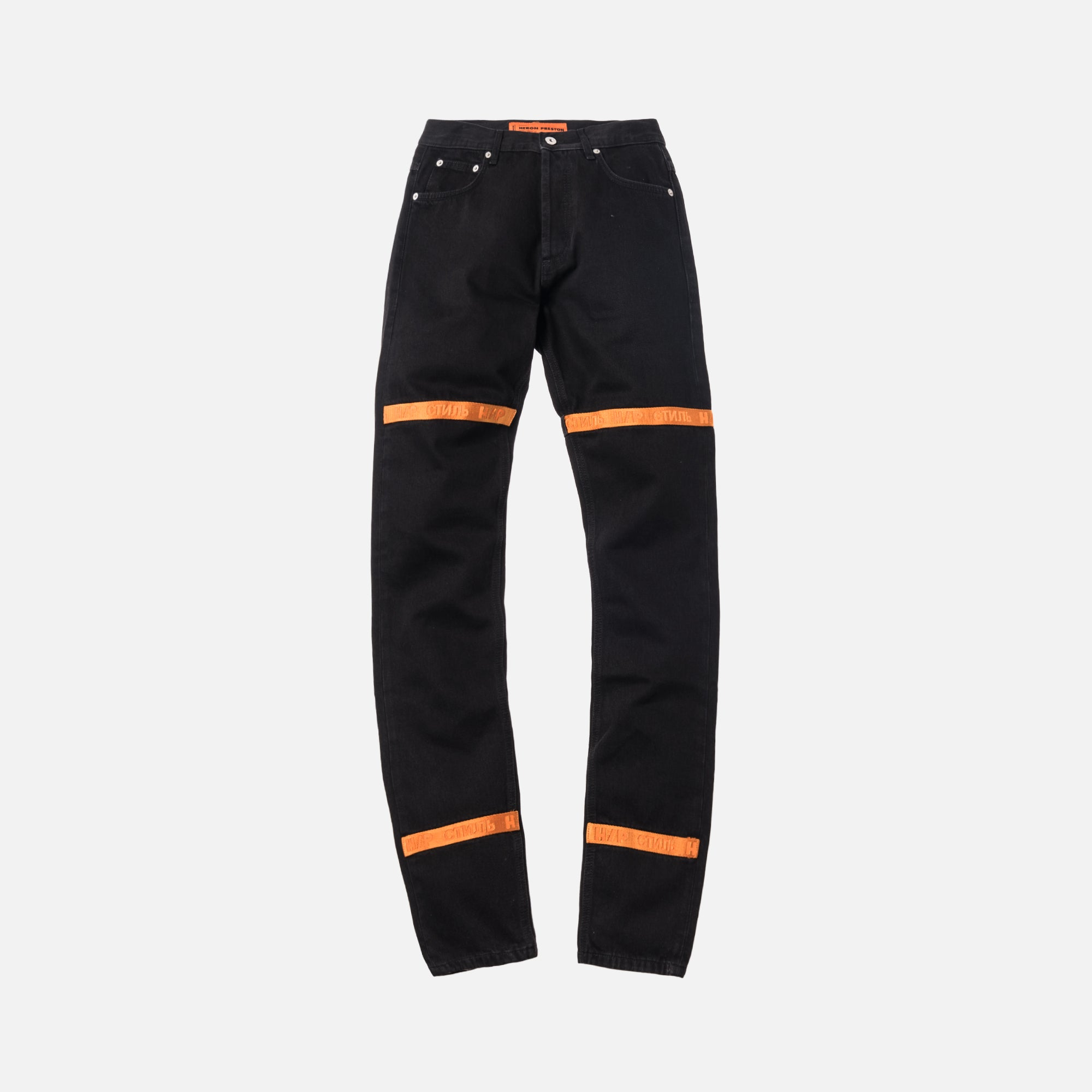 Heron Preston Tape 5-Pocket Denim Pants - Black / Orange