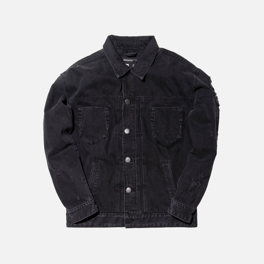 Kith Classics Hawkins Destroyed Trucker Jacket - Black