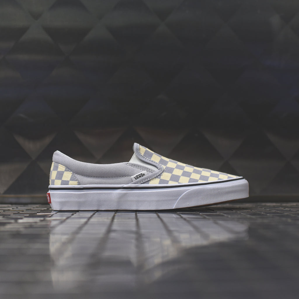 Vans wmns classic slip on checkerboard gray dawn true white kith