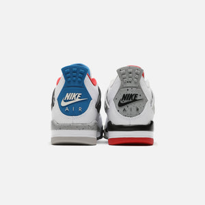 Nike Grade School Air Jordan 4 Retro SE - White / Military Blue / Fire Red / Tech Grey