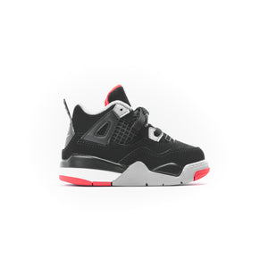 Nike TD Air Jordan 4 Retro - Black / Fire Red / Cement Grey