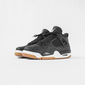 Nike GS Air Jordan 4 Rare Air - Black / White / Gum