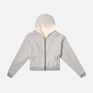 John Elliott Reversible Fleece Lined Zip Hoodie - Heather Grey