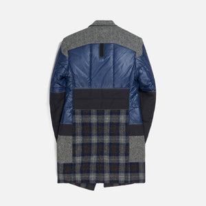 Junya Man Nylon Taffeta x Wool Tweed Campagnolo Patch Jacket - Black / Grey / Blue
