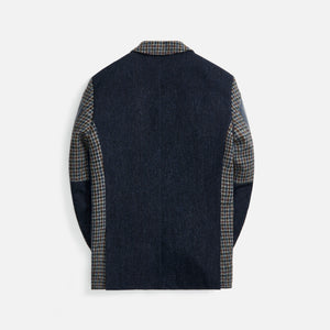 Junya Man Cowhide x Wool Tweed - Navy / Grey