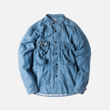 Kapital Soft Denim Anorak Button-Up - Light Indigo