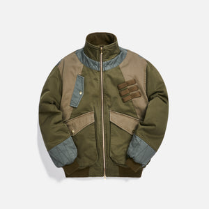 Kith Colorblocked Sateen Bomber - Olive Image 1