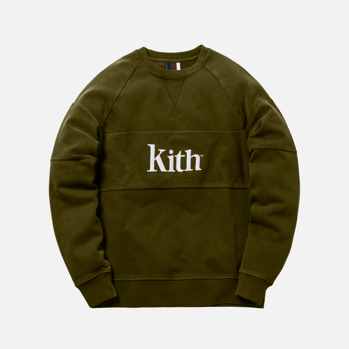 Kith Paneled Williams Crewneck - Olive