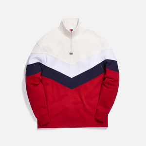 Kith Track Line Quarter-Zip Pullover - Red / Multi Image 1