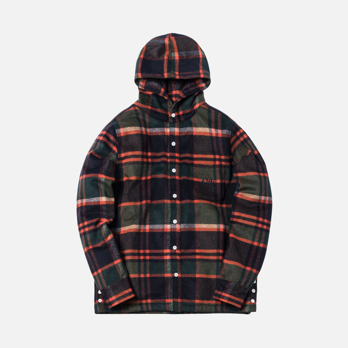 Kith Plaid Hooded Ginza Shirt - Brown / Orange Plaid