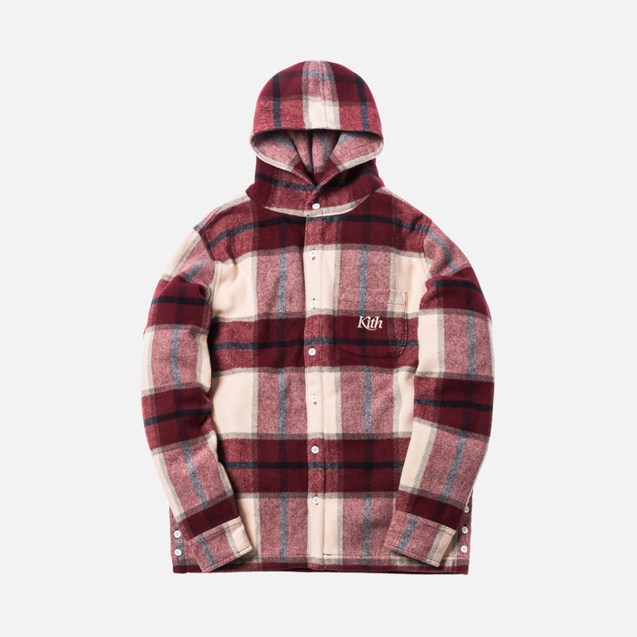 Kith Plaid Hooded Ginza Shirt - Burgundy Plaid