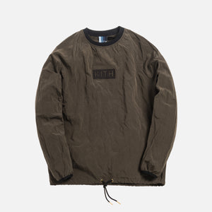 Kith L/S Crinkle Nylon Johnson Crewneck - Black Olive