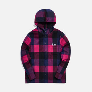 Kith Plaid Wool Ginza Hooded Shirt - Pink