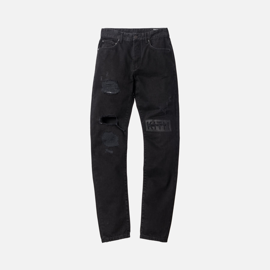 Kith Varick Destroyed Logo Denim - Black
