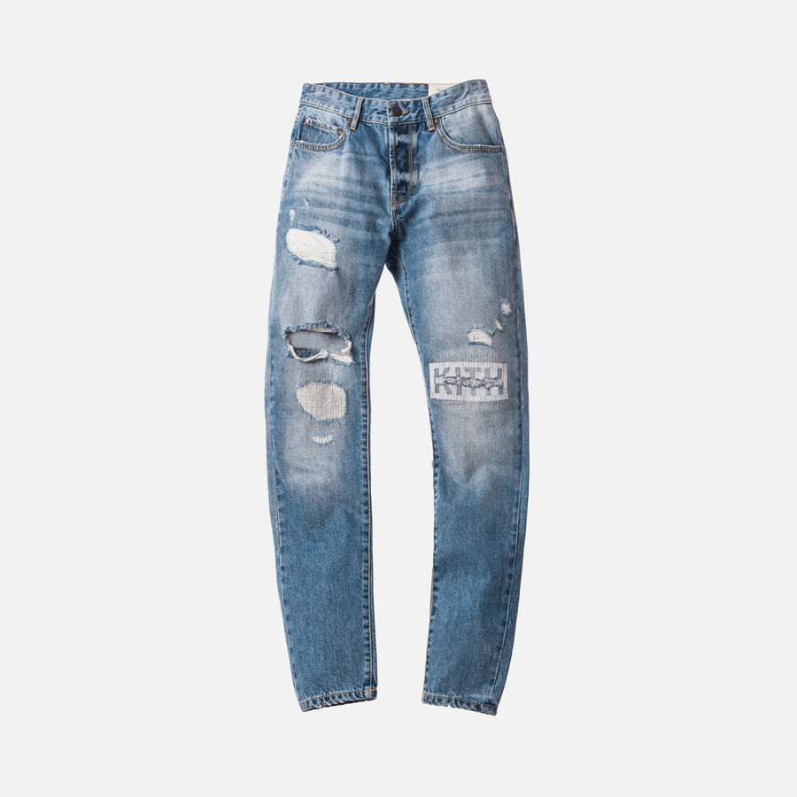 Kith Varick Destroyed Logo Denim - Stella Blue